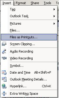 File as Printouts option in onenote